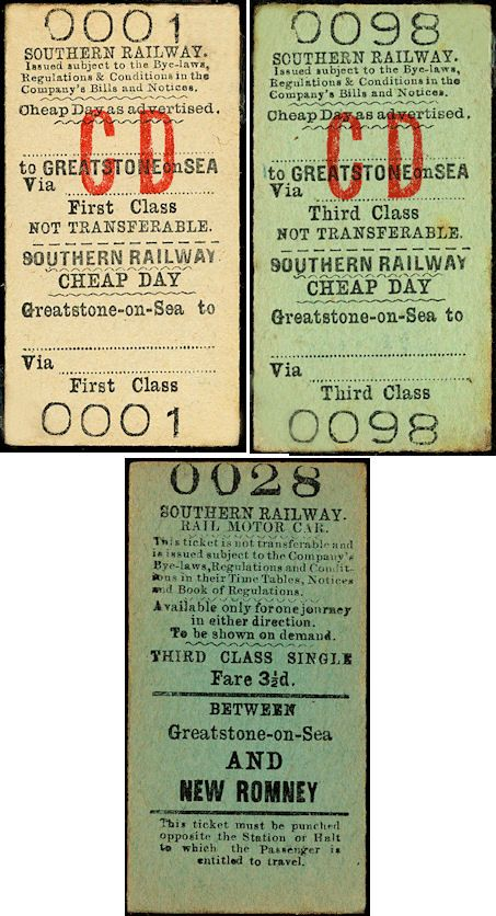 Examples of Southern Railway tickets for Greatstone-on-Sea Station. The first two date from about 1937