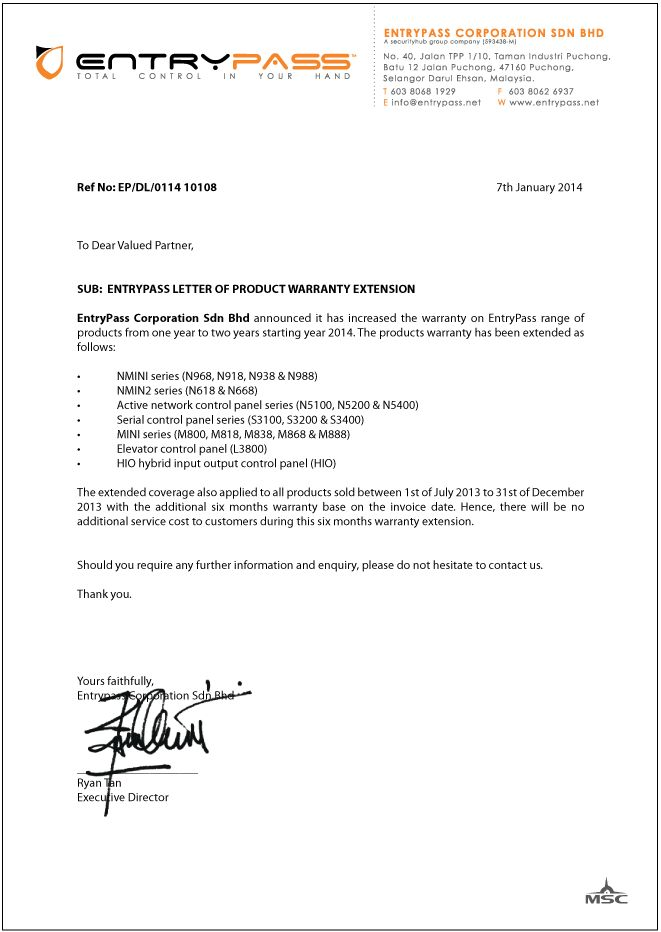 letter product warranty entrypass template amp sample form biztree - package handler resume