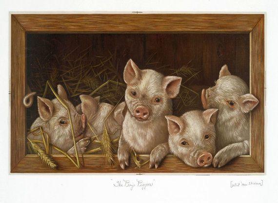 antiek Victoriaanse prijs piggies illustratie door FrenchFrouFrou