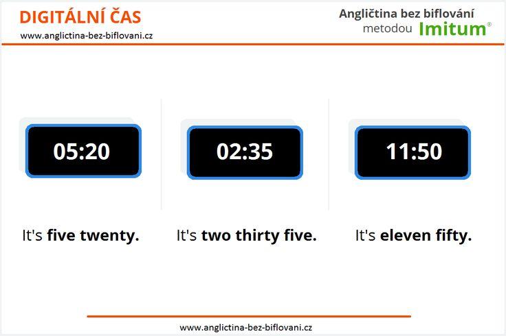 Digitální čas - tento způsob vyjadřování času využívá 12hodinový režim určování času. Pro upřesnění dopoledne a odpoledne používá zkratek: