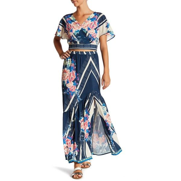 Jealous Tomato Print Front Slit Maxi Skirt featuring polyvore, women's fashion, clothing, skirts, navy, long skirts, high low skirt, maxi skirt, navy blue long skirt and white floral maxi skirt