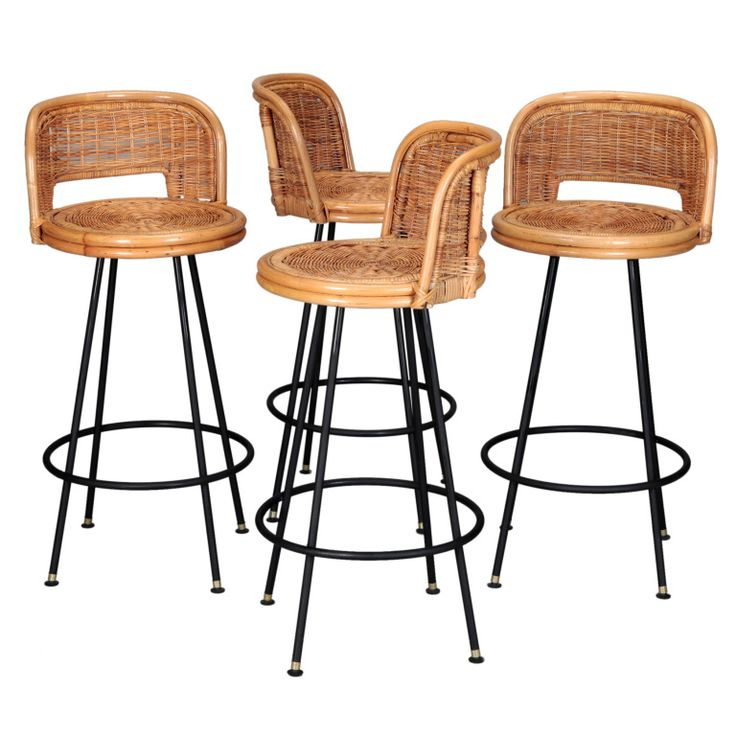 Set Of 4 Mid Century Rattan Swivel Bar Stools In Style Of Danny