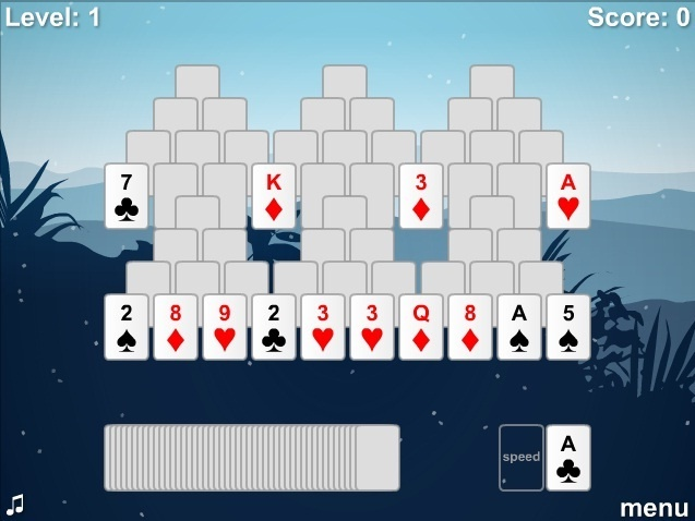 Play this popular king solitaire game based on Tri Peaks Solitaire rules. Place card with the value either higher or lower than that which is featured on the waste pile located at the right bottom corner.