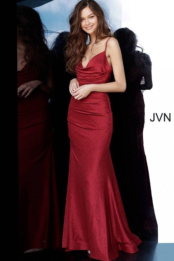 Jovani Jvn00967 Cowl Neck Trumpet Dress With Train In 2020 V Neck Prom Dresses Necklines For Dresses Affordable Prom Dresses
