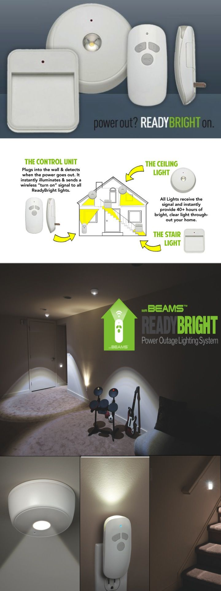 Something every home needs!  Be prepared and keep your family safe the next time the power goes out with the ReadyBright Power Outage Kit.  It provides light for up to 40 hours on one set of batteries.  Easy/quick DIY installation. These wireless, battery-operated LED lights are perfect for stairways, closets, and under cabinets.