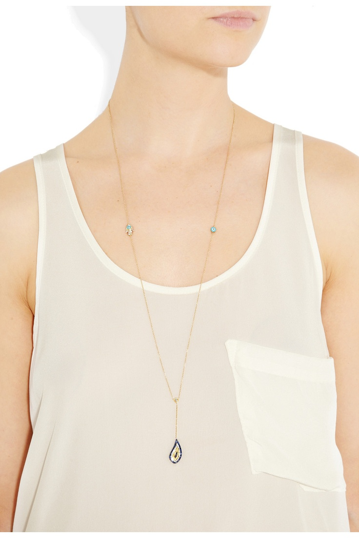 Vanessa Kandiyoti 18-karat gold, diamond and sapphire charm necklace