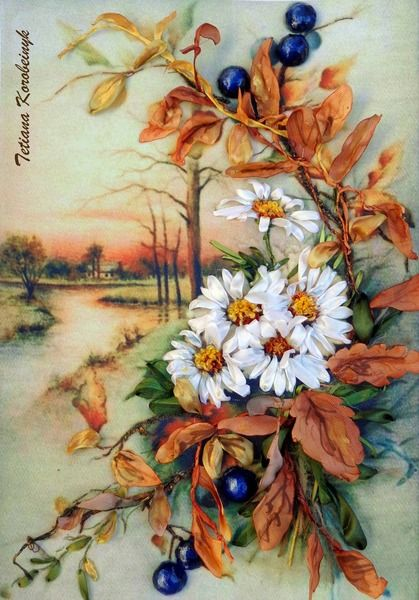 "*RIBBON ART ~ Ricamo per quadro ""Autunno"" Silk ribbon embroidery di Le meravigle…"