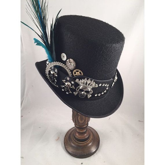 STEAMPUNK TOP HATS, Day of the Dead,  Steampunk Store, Black Top Hat, Skull Belt, Clock Parts, Peacock, Turquoise Feathers