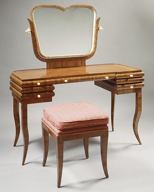 Dressing Table  Bruno Paul (German, 1874–1968)  Manufacturer: Herrmann Gerson (German) Date: ca. 1924 Medium: Tulipwood veneer, ivory and mirror glass