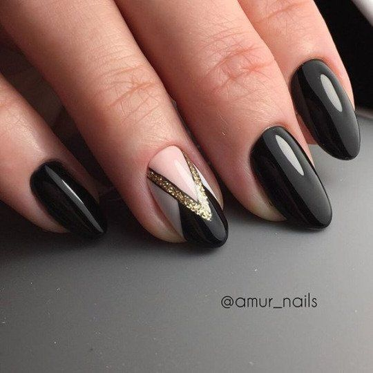 Black Nails with Glitter Accent