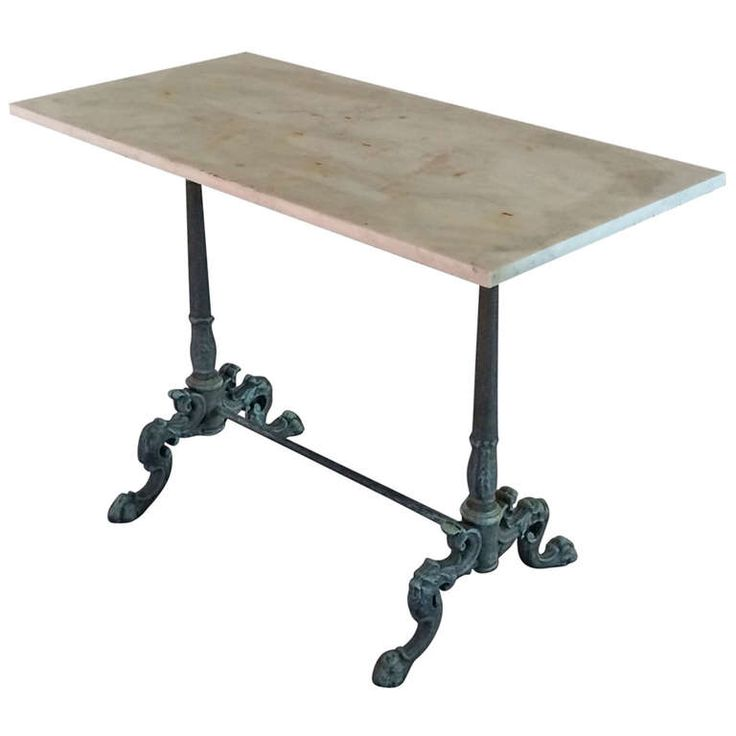 Neoclassical Cast Iron Table with Marble Top | From a unique collection of antique and modern side tables at https://www.1stdibs.com/furniture/tables/side-tables/