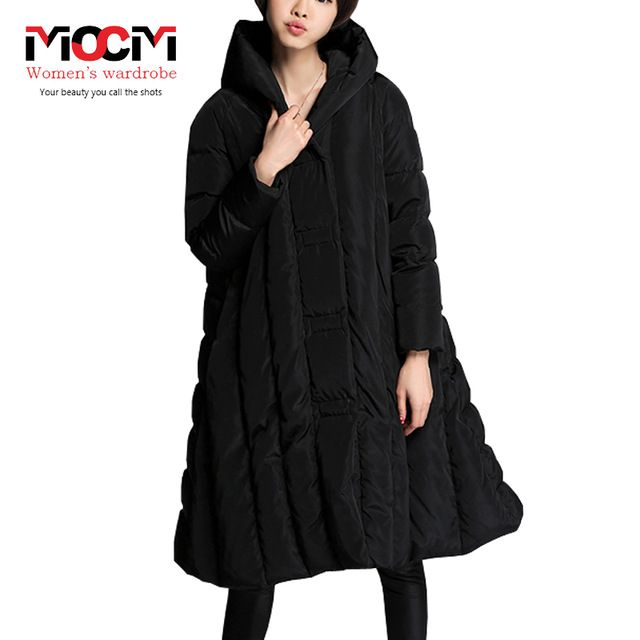 Plus size women clothing thick loose big A word skirt hem hooded long warm winter white duck down jacket LM40 Price on the app: US $131.75 US $134.19-151.79 /piece click the link to buy http://goo.gl/YJxPC6