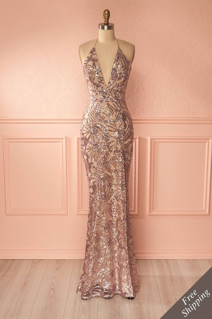 Freddilena #Boutique1861 / Pink sequins halter gown. Shimmer and dance ! #promdresses
