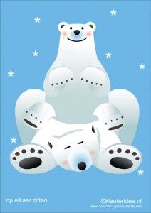 Bewegingskaarten ijsbeer voor kleuters 13 , op elkaar zitten , kleuteridee.nl, thema Noorpool, Movementcards for preschool,  free printable....