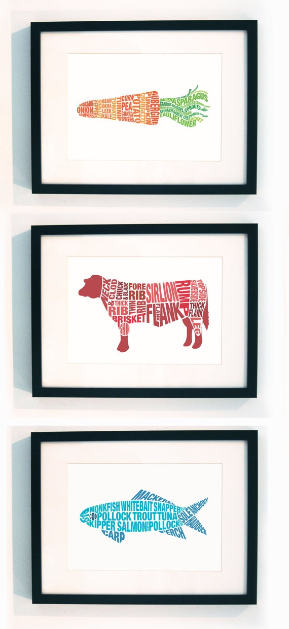 Set of three typographic food prints by LucyLovesThis on Etsy, £45.00