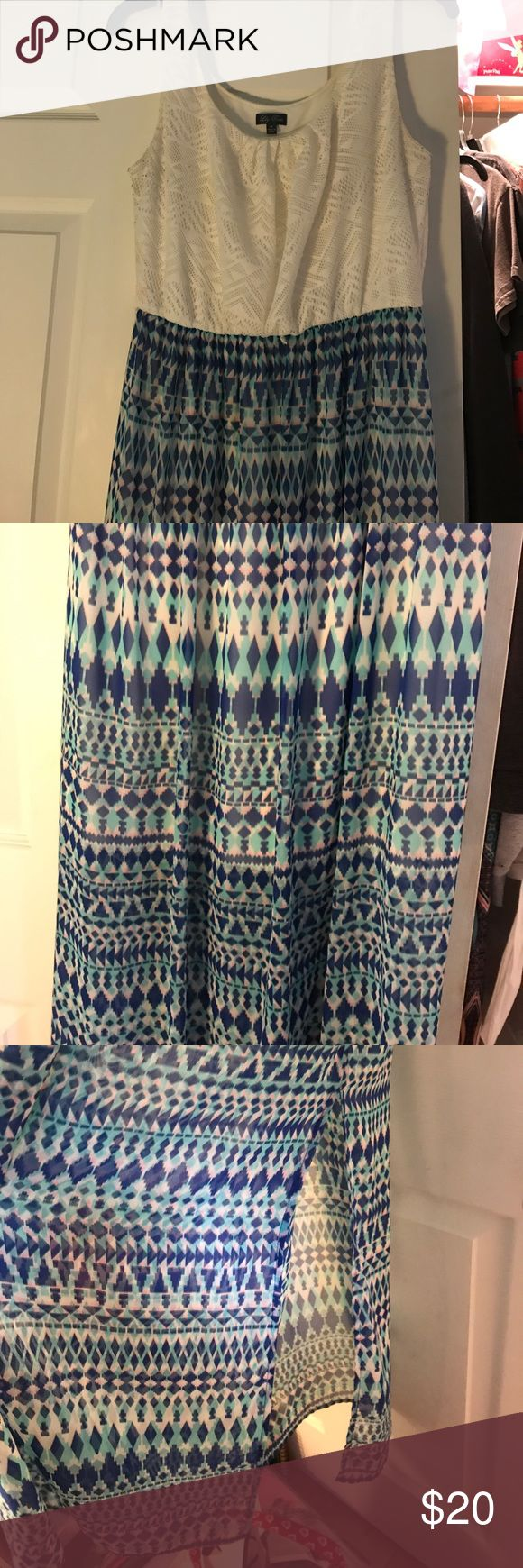 Maxi dress White lace bodice. Aztec print, only worn once. Lily Rose Dresses Maxi