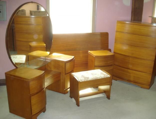 Art deco mid century modern bedroom set blonde - Midcentury modern bedroom furniture ...