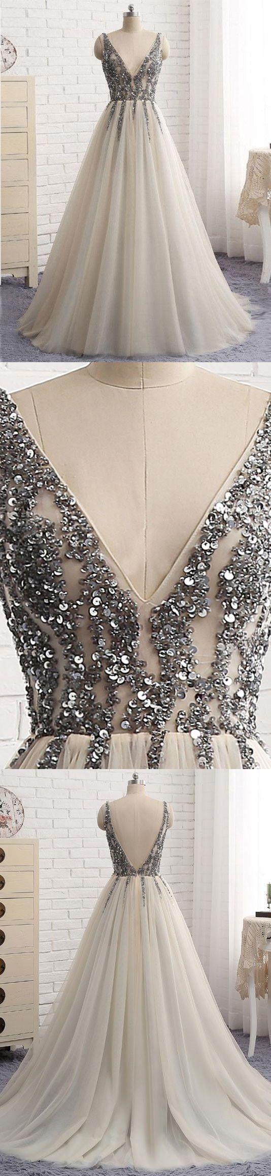 Elegant Tulle Prom Dress, Sequins Long Party Dress, V-Neck White Evening Dress