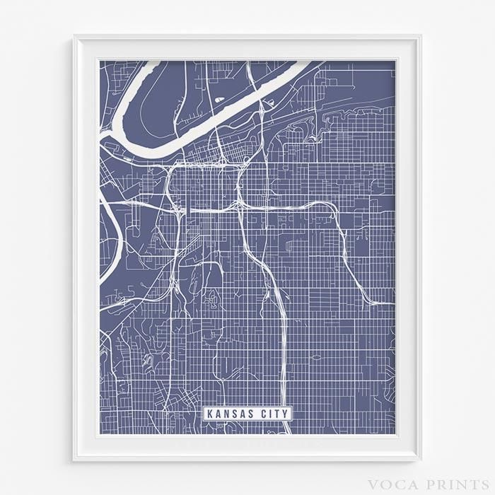 Kansas city missouri street map print 199
