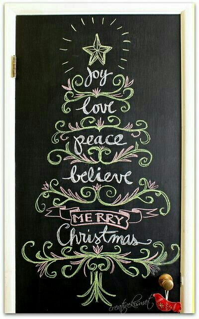 Christmas chalk board art.