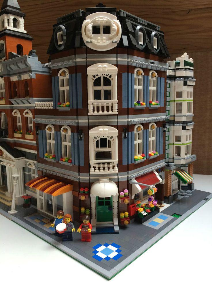 LEGO CUSTOM MODULAR SAND BLUE CORNER SHOPS CREATOR EXPERT LIKE 10182 10185 10190