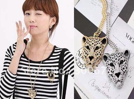 Фабрики сразу оптовая продажа старинные золотые сплава кристалла ожерелье леопарда голова, Старинные ювелирные изделия