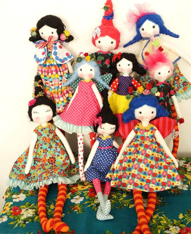 dolls by Tacón cute modern vintage rag doll plushie toy designs love the pantomime circus hair