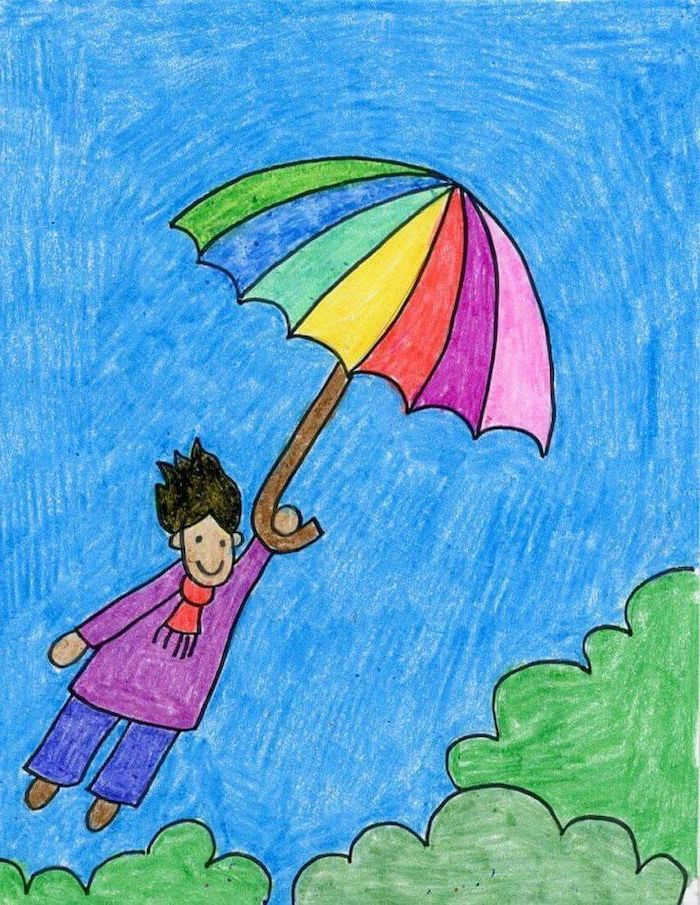 drawing easy drawings pencil 1001 develop creativity imagination archzine crayon umbrella flying draw children creative beginners mouse step minnie inspiration