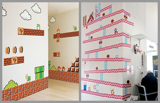 i could totally see this in the FILTER break room ... Nintendo Donkey Kong & Super Mario Bros Wall Decal