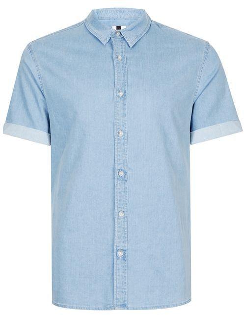 Topman Bleach Wash Muscle Fit Short Sleeve Denim Shirt