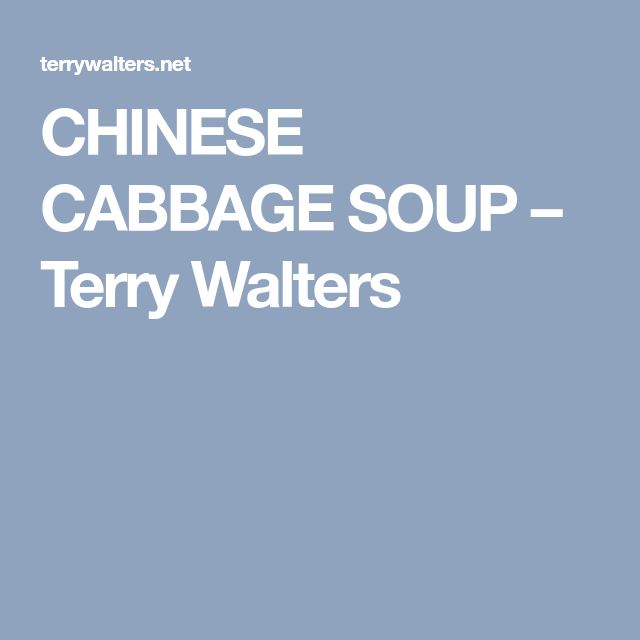 CHINESE CABBAGE SOUP – Terry Walters