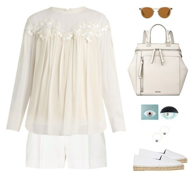 """Chloé Lace-Trimmed Gathered Silk-Georgette Blouse"" by sol4ange ❤ liked on Polyvore featuring mizuki, Kenzo, Elie Saab, Chloé, Oliver Peoples and Nine West"