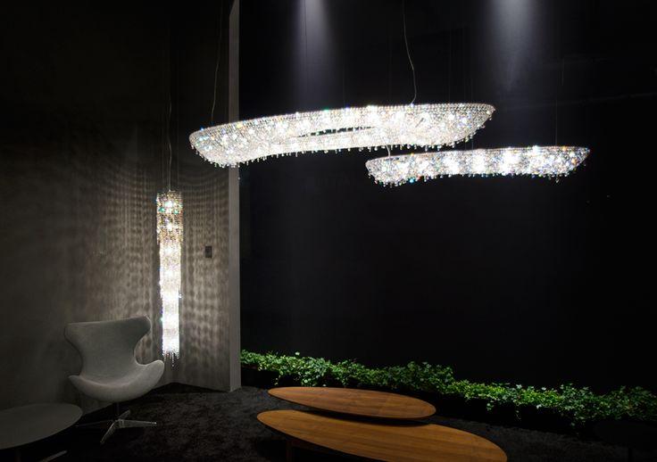 Euroluce 2017, Artica and Fjord crystal chandeliers at Manooi's booth  #Manooi #Chandelier #CrystalChandelier #Design #Lighting #StarGate #Origo #Euroluce #Euroluce2017 #exhibition