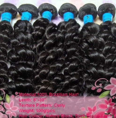 "AAAA Grade Virgin Brazilian Remy Human Hair Extension Weft Deep Curly 100g 22"" by JQY. $86.00. All our VIRGIN hair is the most popular hair and healthy virgin hair on the market. , which has not been processed at all. It is cuticle hair, provided by the donor in its original state, therefore, the direction of the hair is respected, and the hair does not tangle at all.  It comes in natural colours of black and sometimes a bit lighter. The dark colours be dyed to lighter..."