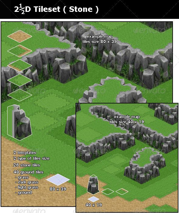 2D Game Tileset - Stone #GraphicRiver This is a stone tileset. Basic stuff for a…