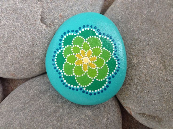 painted stone flower