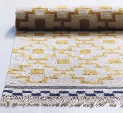 Charming ALVINE RUTA Rug, Flatwoven, White/yellow Handmade White/yellow