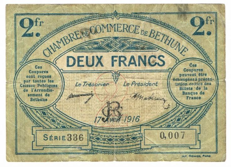 Bethune Chambre de Commerce 2 Francs 17.4.1916, Series 336