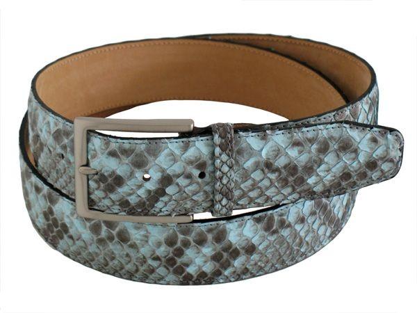 Exclusive genuine python men's belt color light blue