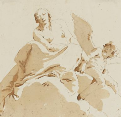 Giovanni Battista Tiepolo (1696-1770), Psyche Holding The Arm Of A Blind Cupid, Pen and brown ink and brown wash over black chalk