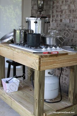 "Outdoor canning kitchenRecipes We Love: Canning Stove...I have been wanting an outdoor stove for cooking year round...this looks like a very affordable option since I do not have room for an ""outdoor living area complete with kitchen.""  Excellent idea."