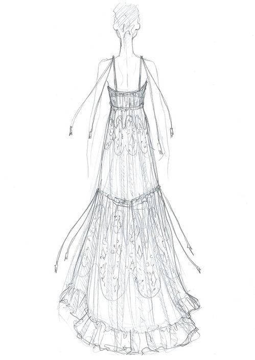 Croquis de la robe de mariée Chloé de Bar Refaeli http://www.vogue.fr/mariage/inspirations/diaporama/la-robe-de-marie-chlo-de-bar-refaeli/22783#croquis-de-la-robe-de-marie-chlo-de-bar-refaeli