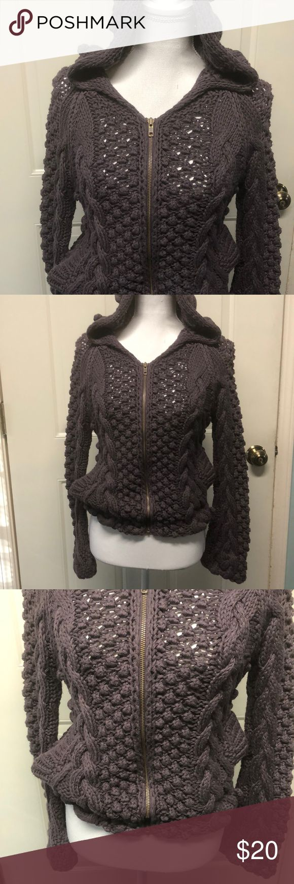 MODA XS crochet Zip Up Sweater with hood Women's XS MODA International crochet Zip Up Sweater with hood, very comfy!! Excellent condition no rips, stains, pulls ➡️Reasonable offers will be accepted! Same or next business day shipping on all purchases!💕 Moda International Sweaters Shrugs & Ponchos
