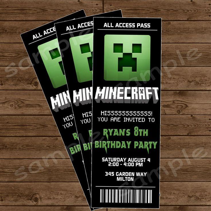 MINECRAFT Ticket Invitation - Minecraft Birthday Party - DIY Printable. $10.00, via Etsy.