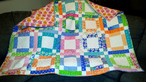 QUILT BRIGHT COLORS Bed cover Lap quilt girls tweens by AuntiJoJos, $180.00