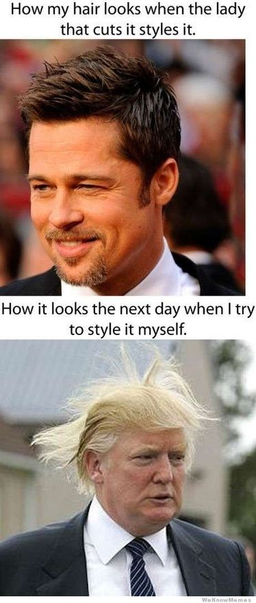 I dunno why my cousin's girlfriend thinks I have Donald Trump hair. Maybe this explains it. LOL.