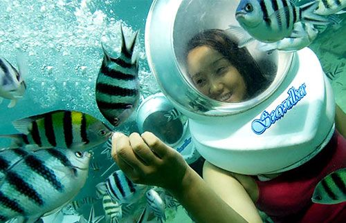 Temukan keindahan dunia bawah laut dengan mencoba Sea Walker, Bali!  Dapatkan harga promonya hanya di Travelicious, hanya Rp354.000 #panoramagroup