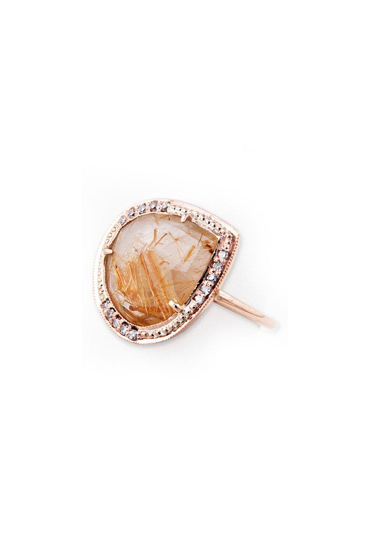 Jacquie Aiche Rutilated Quartz Teardrop Ring, $1,875; Jacquieaiche   Elle