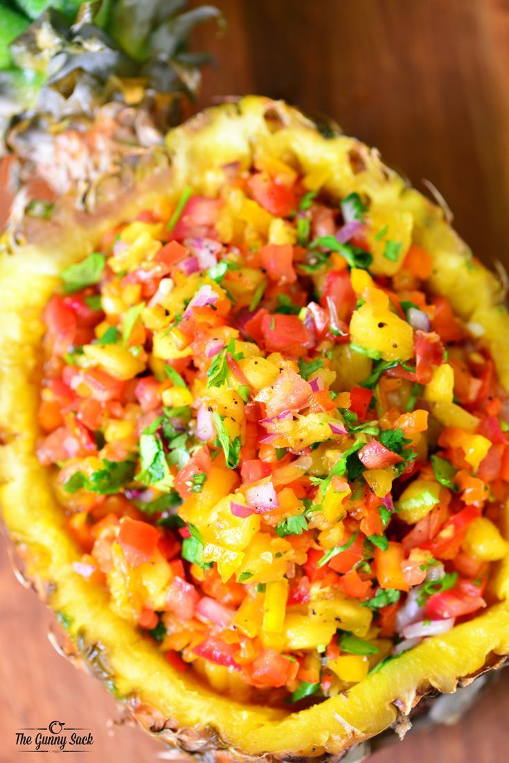 This pineapple salsa recipe has a delicious combination of sweet and spicy. It can be served with grilled chicken or fish or as an appetizer with chips.