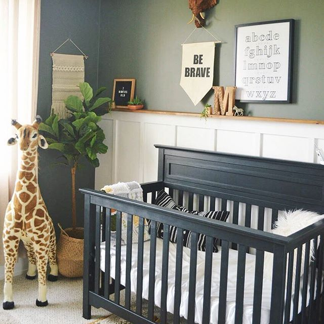 Sage Green White And Black Nursery With Giant Giraffe And